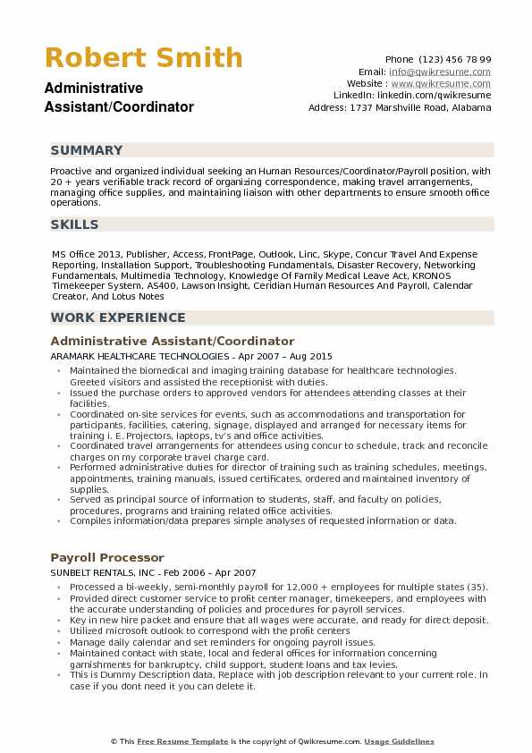 administrative assistant coordinator resume samples qwikresume