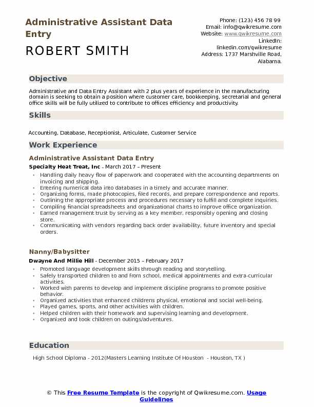 Administrative Assistant Data Entry Resume Template