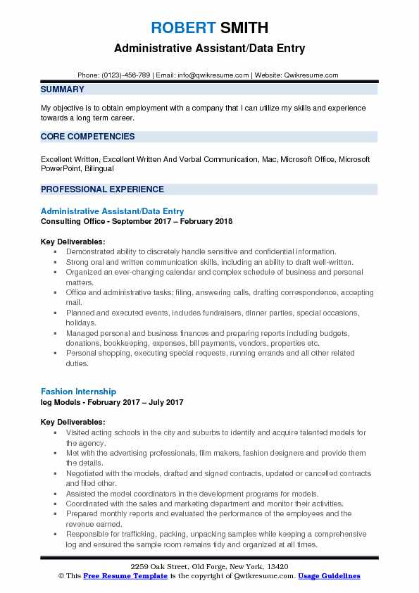 Administrative Assistant Data Entry Resume Samples Qwikresume