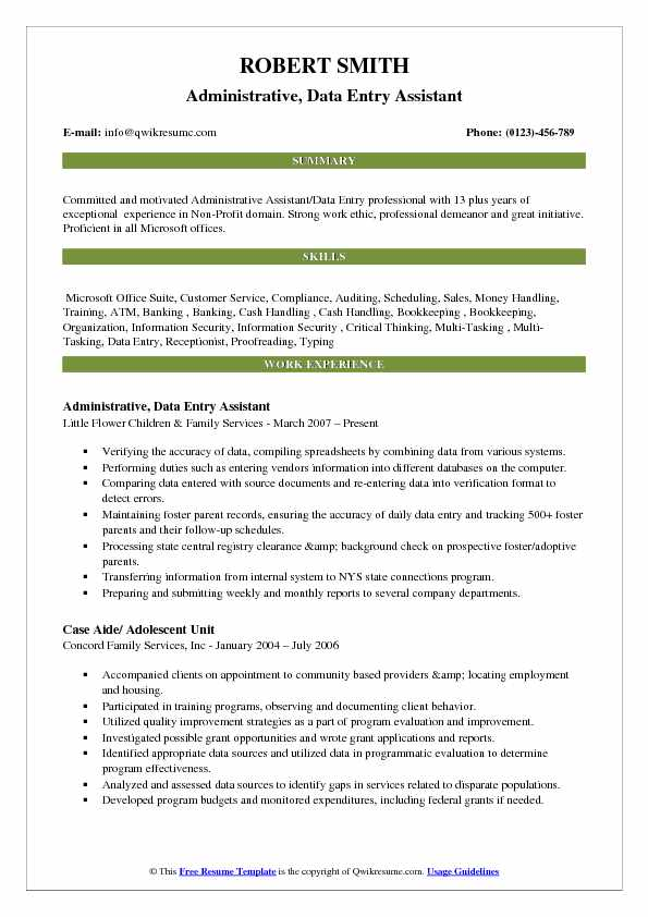 Administrative, Data Entry Assistant Resume Sample