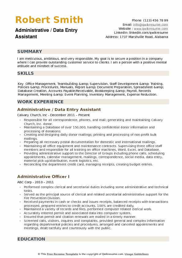 Administrative / Data Entry Assistant Resume Format