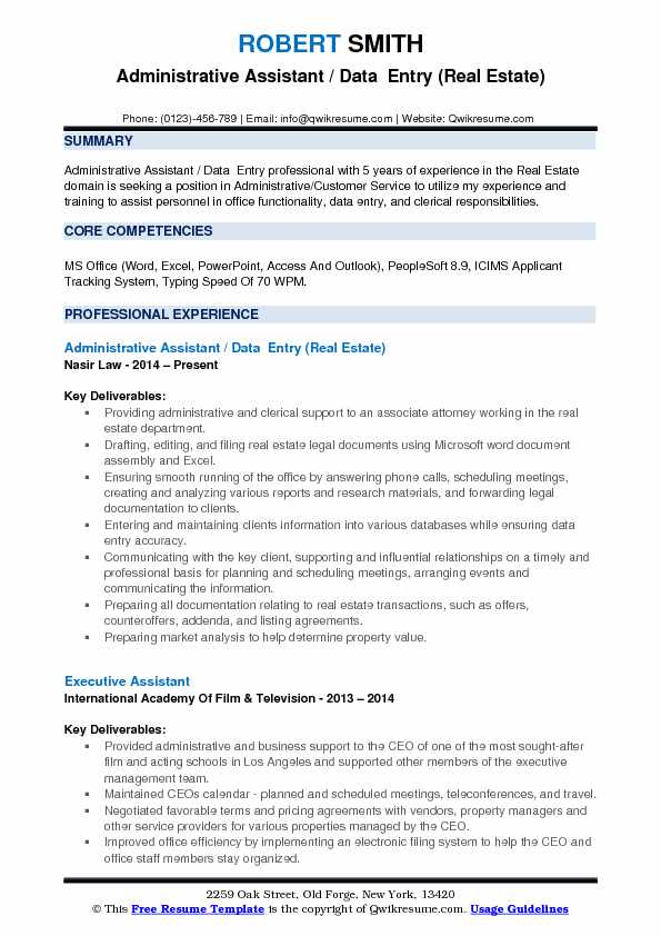 Administrative Assistant / Data  Entry (Real Estate) Resume Format