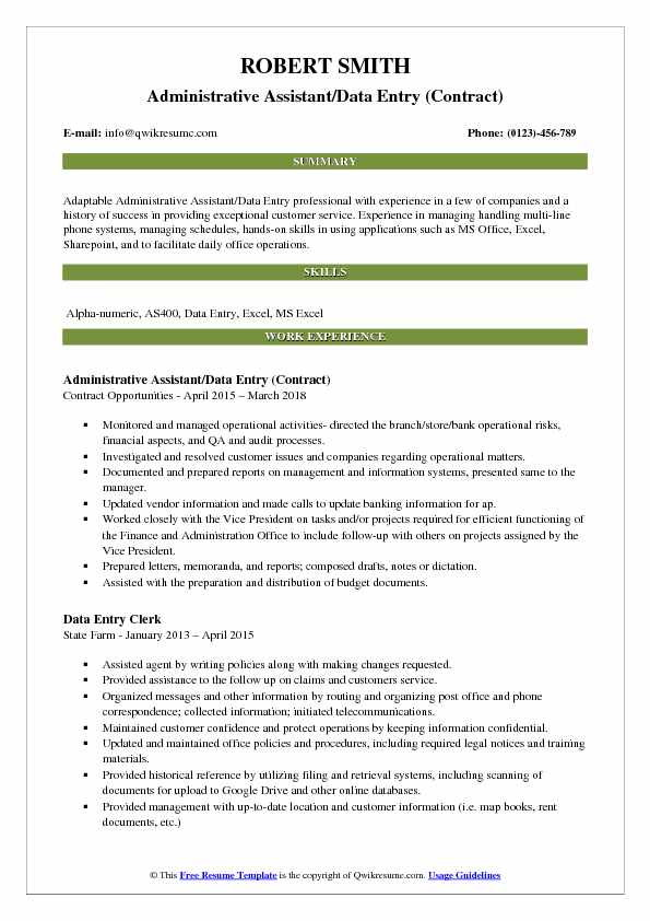 Administrative Assistant/Data Entry (Contract) Resume Example
