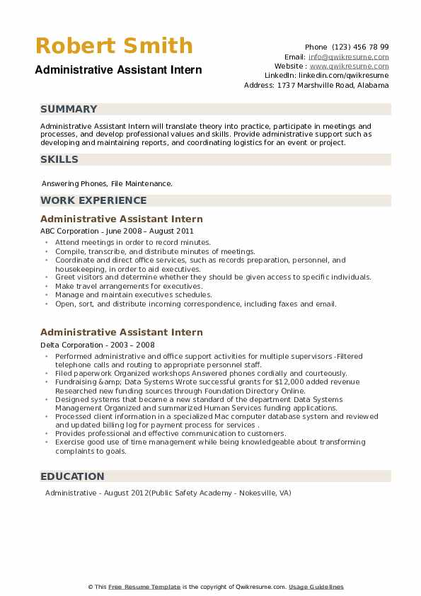 Administrative Assistant Intern Resume example