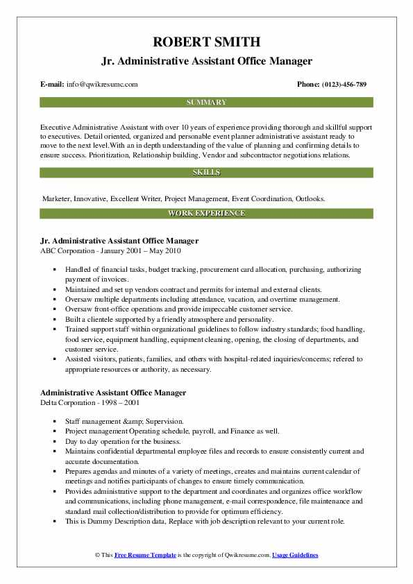 administrative assistant office manager resume samples