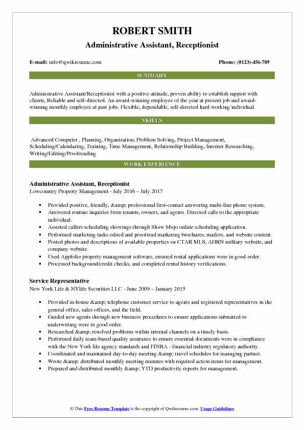 Administrative Assistant, Receptionist Resume Template