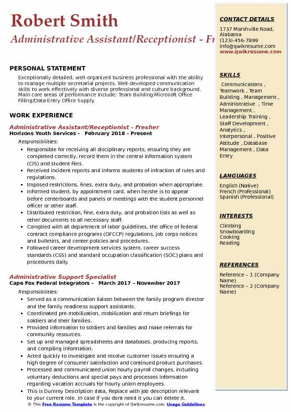 Administrative Assistant/Receptionist - Fresher Resume Template