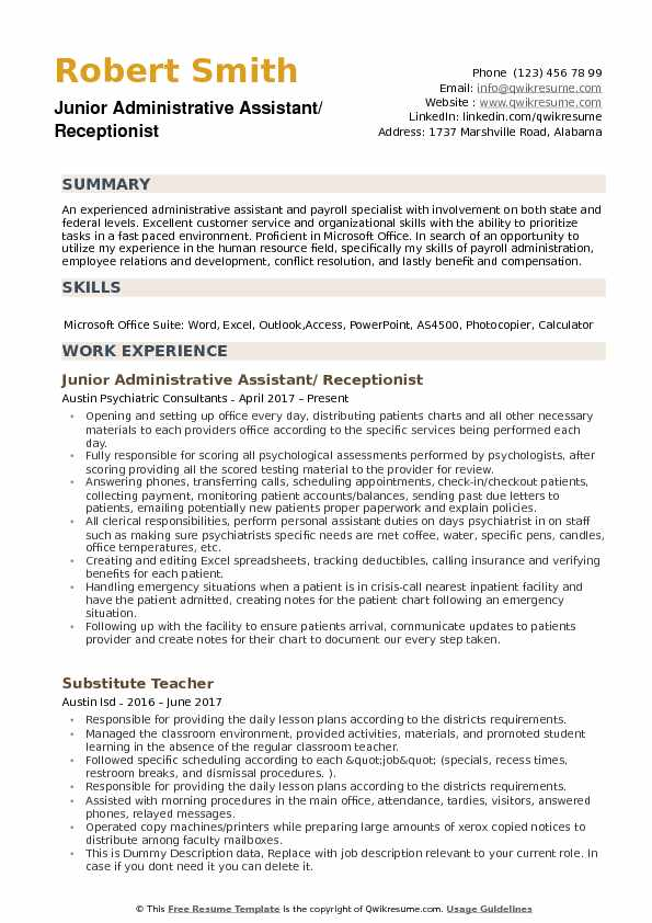 Junior Administrative Assistant/ Receptionist Resume Format