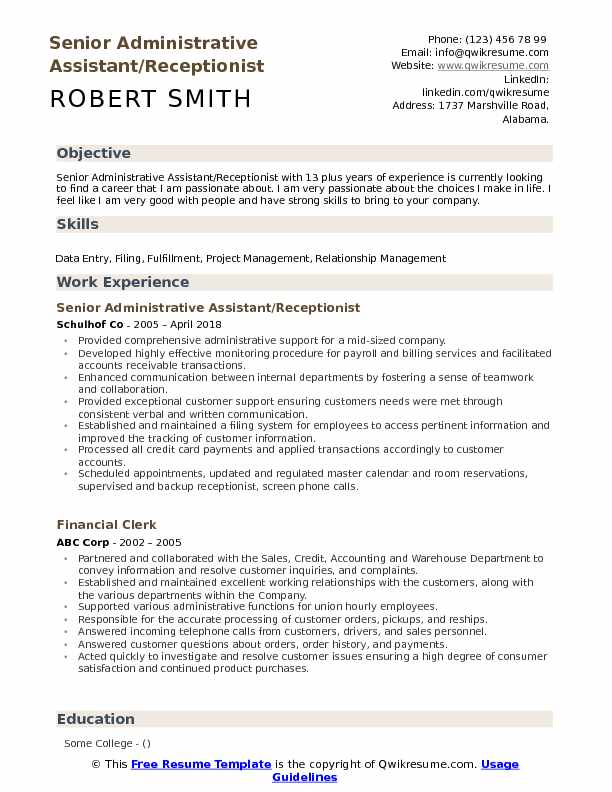 Senior Administrative Assistant/Receptionist  Resume Sample