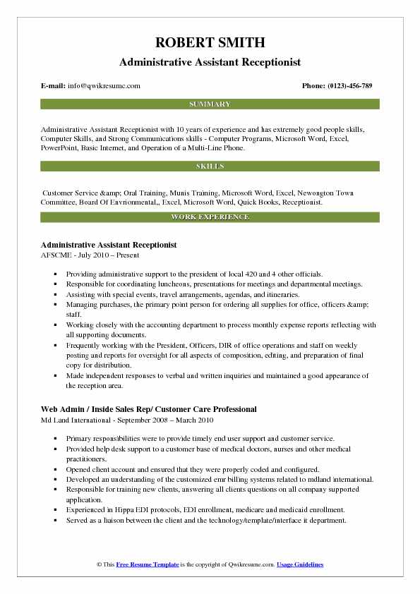 Administrative Assistant Receptionist Resume Model