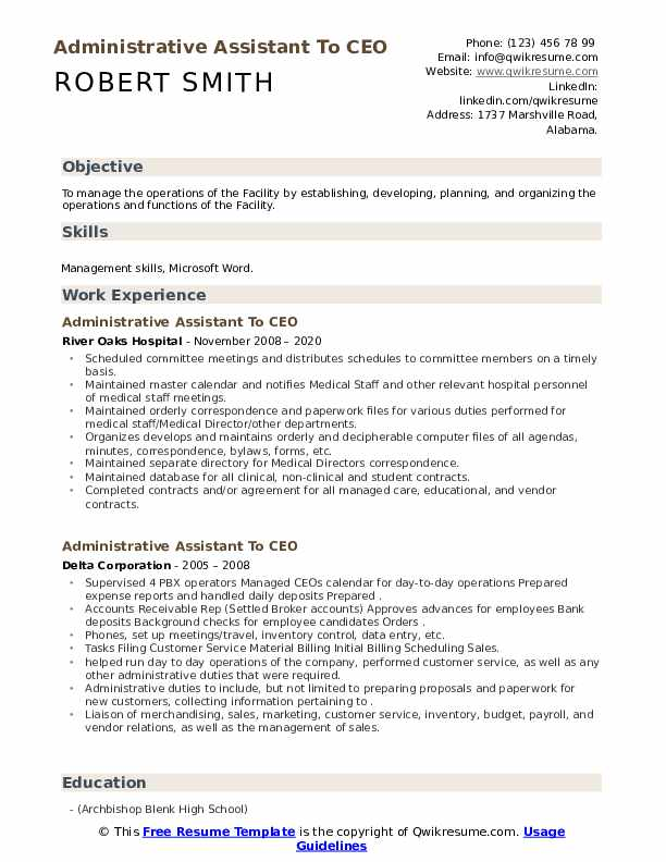 administrative assistant to ceo resume samples  qwikresume