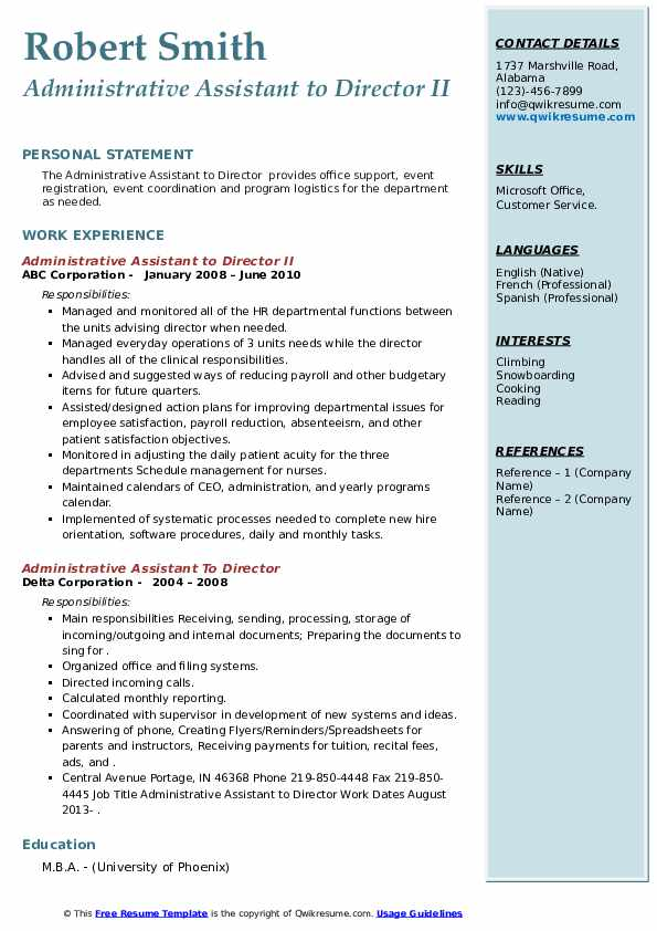 administrative assistant to director resume samples