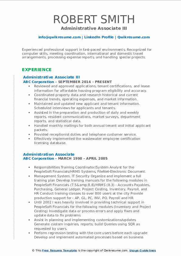 Administrative Associate III Resume Sample