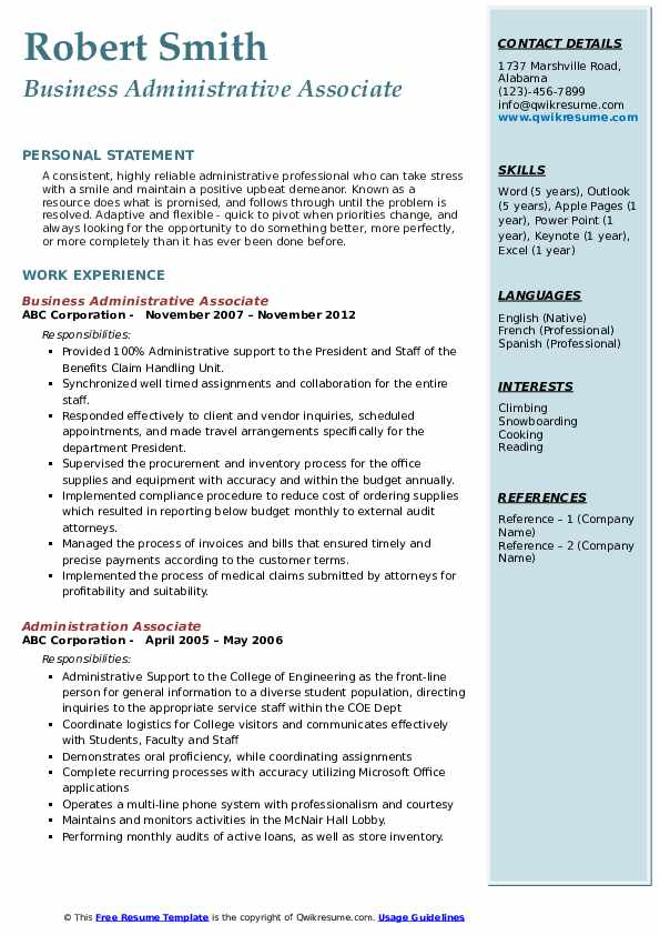 Business Administrative Associate Resume Format