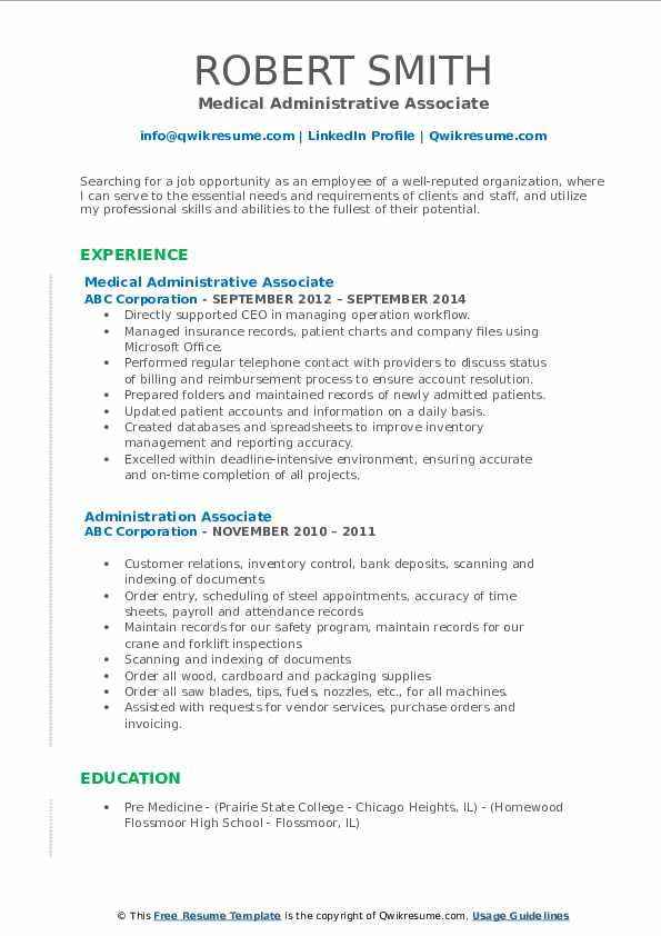 Medical Administrative Associate Resume Format