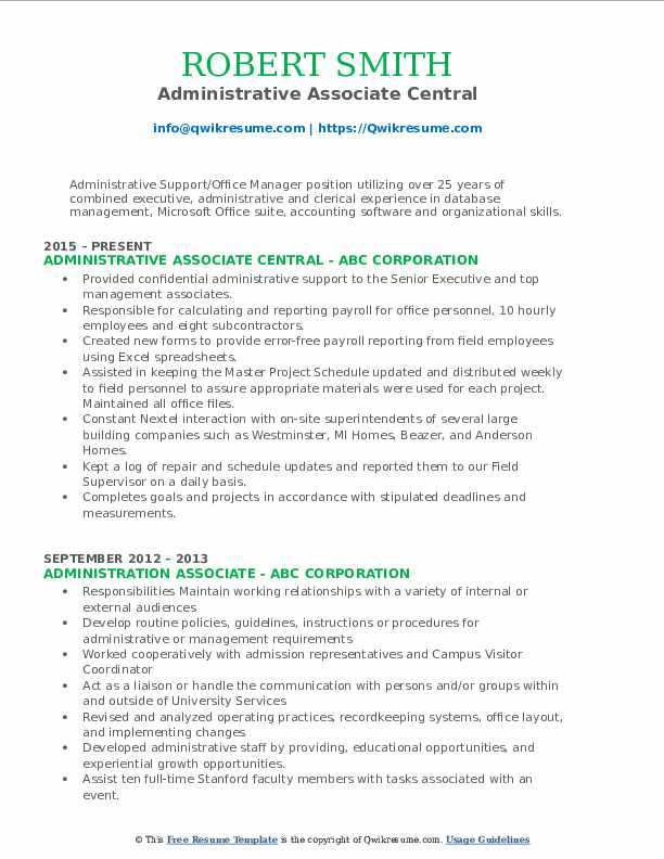 Administrative Associate Central Resume Example