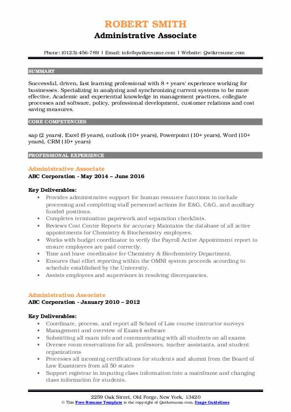 Administrative Associate Resume example
