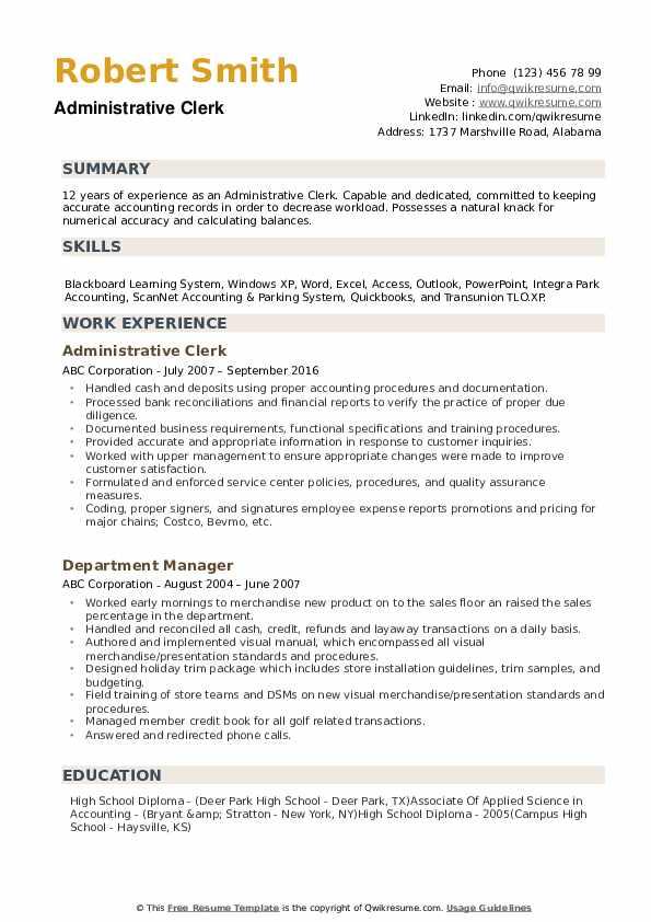 Administrative Clerk Resume Samples Qwikresume