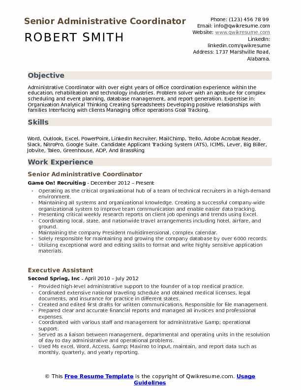 administrative coordinator resume samples