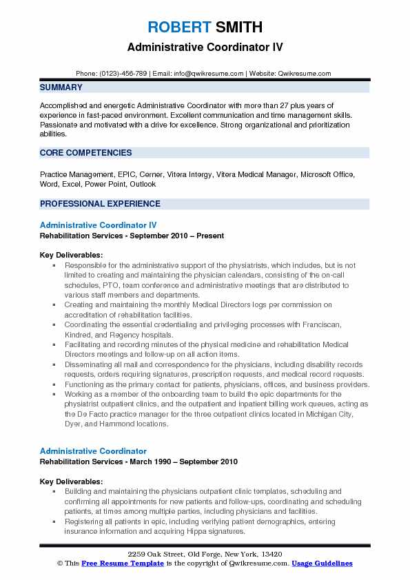 Administrative Coordinator IV Resume Template