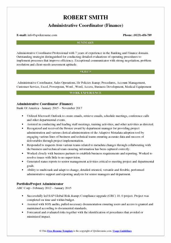 Administrative Coordinator (Finance) Resume Template