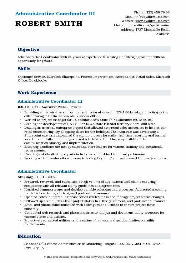 Administrative Coordinator III Resume Model