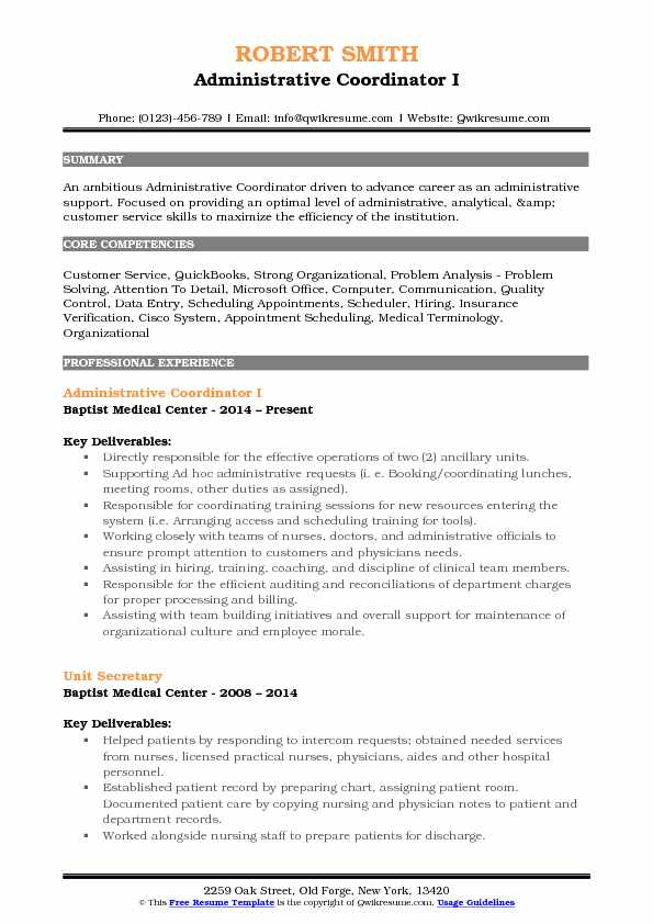 Administrative Coordinator I Resume Sample