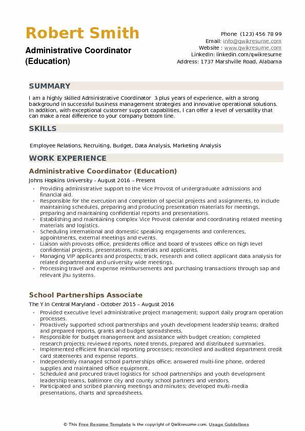 Administrative Coordinator (Education) Resume Sample