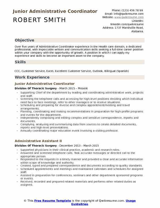 Junior Administrative Coordinator Resume Format