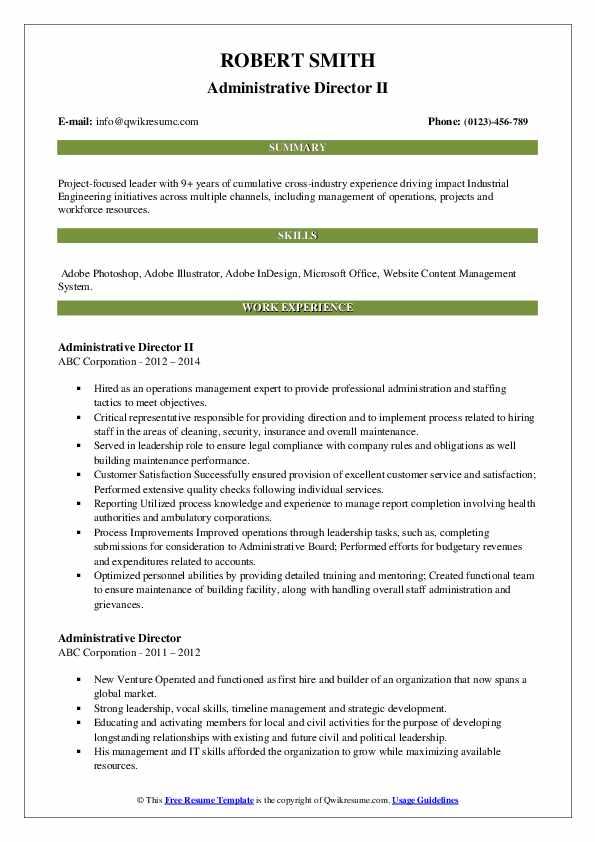 Administrative Director II Resume Format