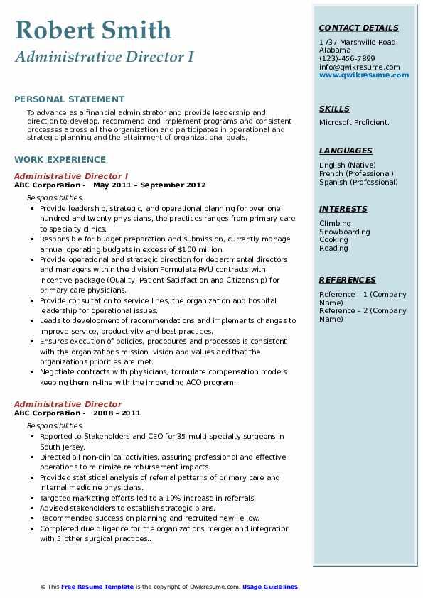 Administrative Director I Resume Model