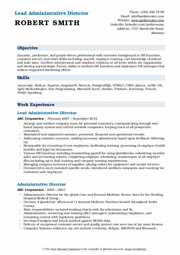 Lead Administrative Director Resume Example