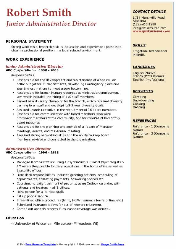 Junior Administrative Director Resume Sample