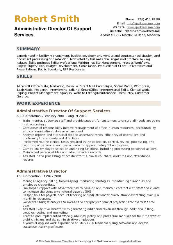 Administrative Director Of Support Services Resume Template