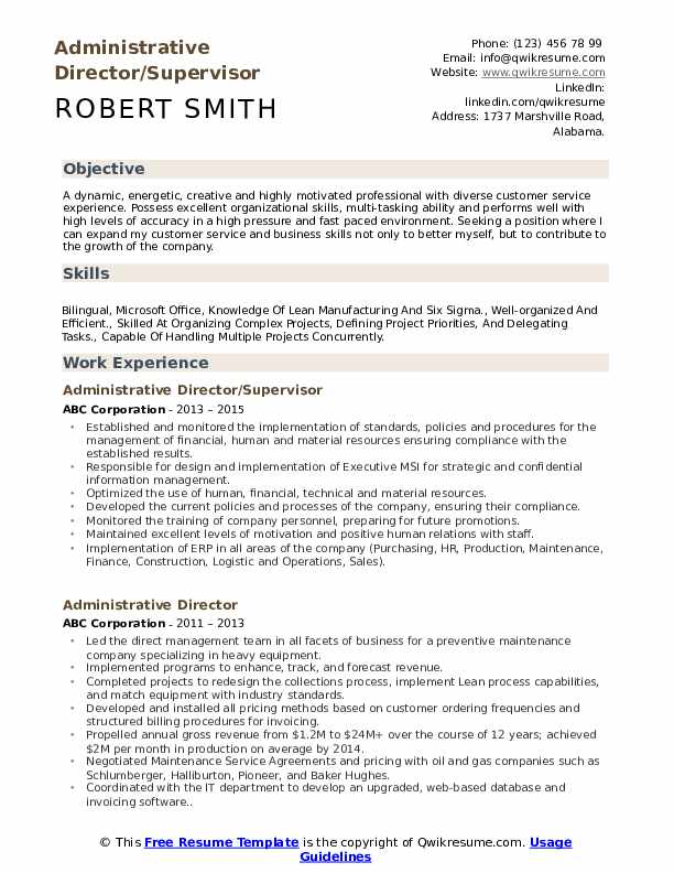 Administrative Director/Supervisor Resume Template