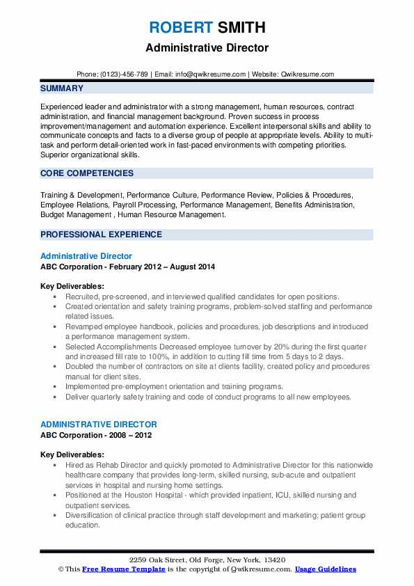 Administrative Director Resume example