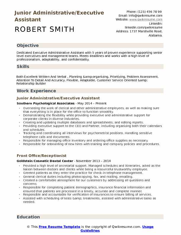 Junior Administrative/Executive Assistant  Resume Format