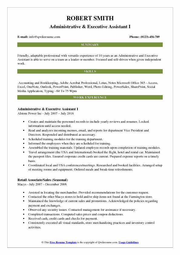 Administrative & Executive Assistant I Resume Sample