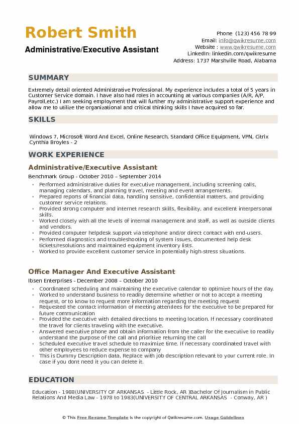 Administrative/Executive Assistant Resume Format
