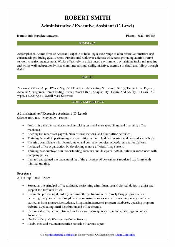 Administrative / Executive Assistant (C-Level) Resume Example