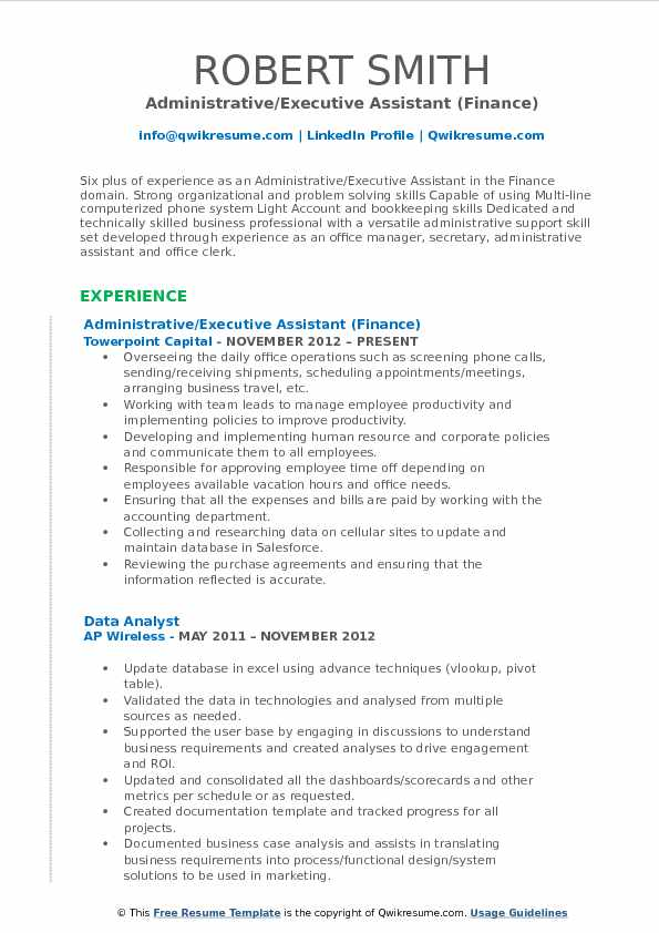 Administrative/Executive Assistant (Finance) Resume Template