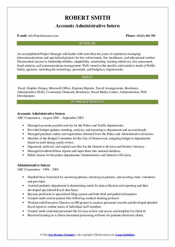 Accounts Administrative Intern Resume Model