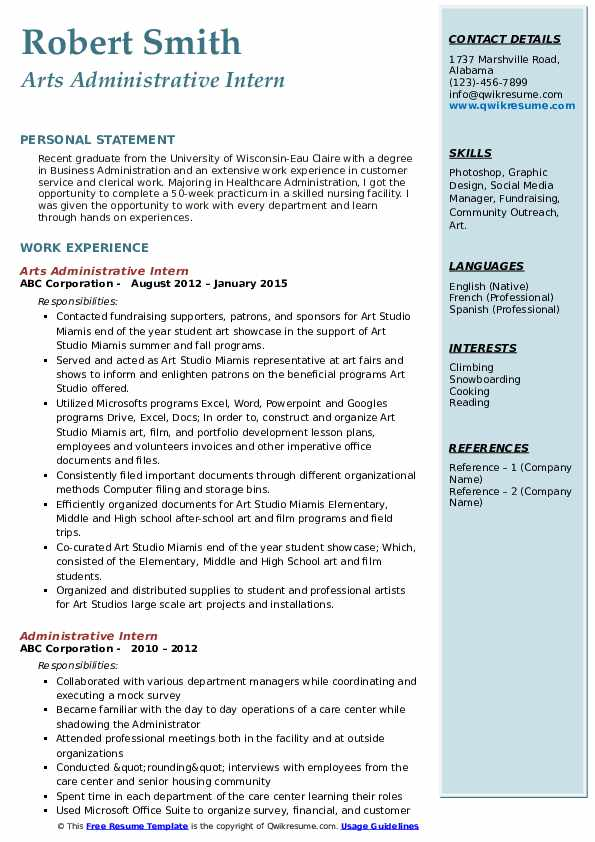Arts Administrative Intern Resume Format