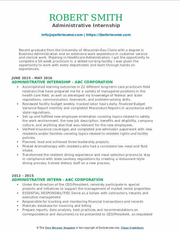 Administrative Internship Resume Template
