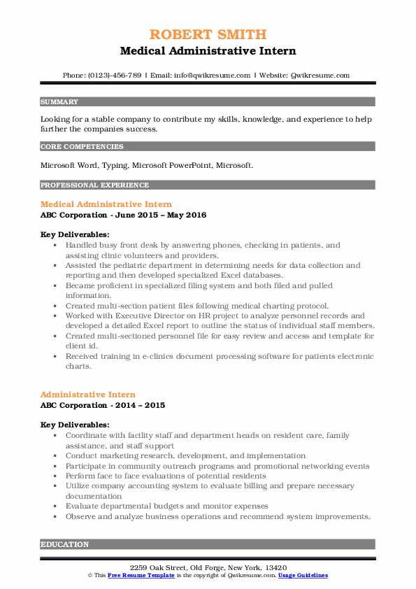 Medical Administrative Intern Resume Template