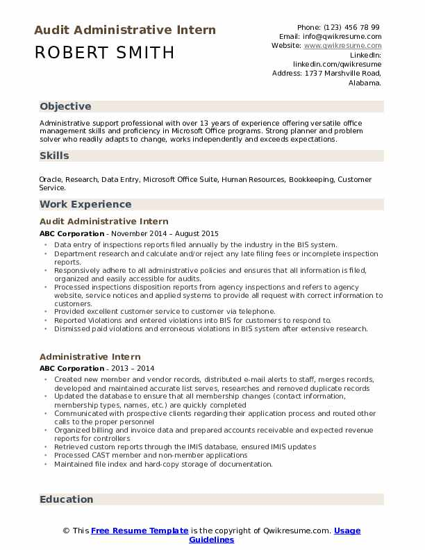 Audit Administrative Intern Resume Format