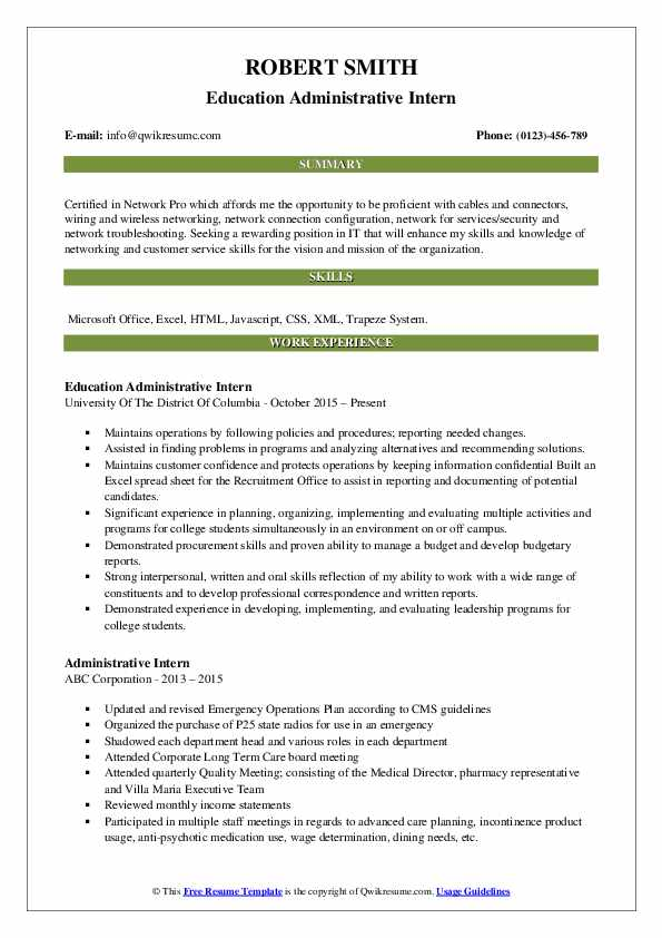 Education Administrative Intern Resume Format