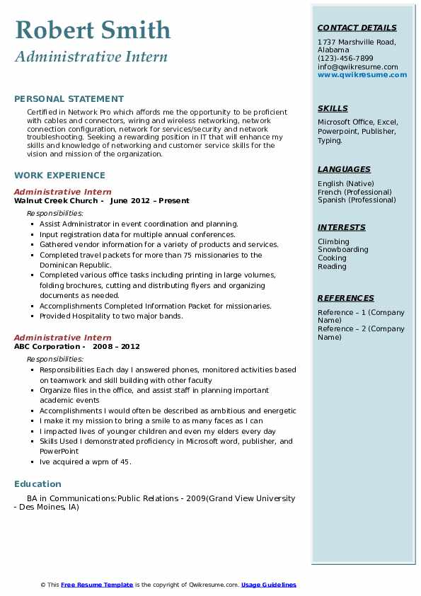 Administrative Intern Resume example