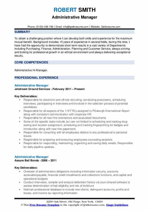 Administrative Manager Resume Model