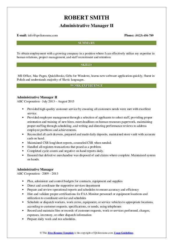 Administrative Manager II Resume Format